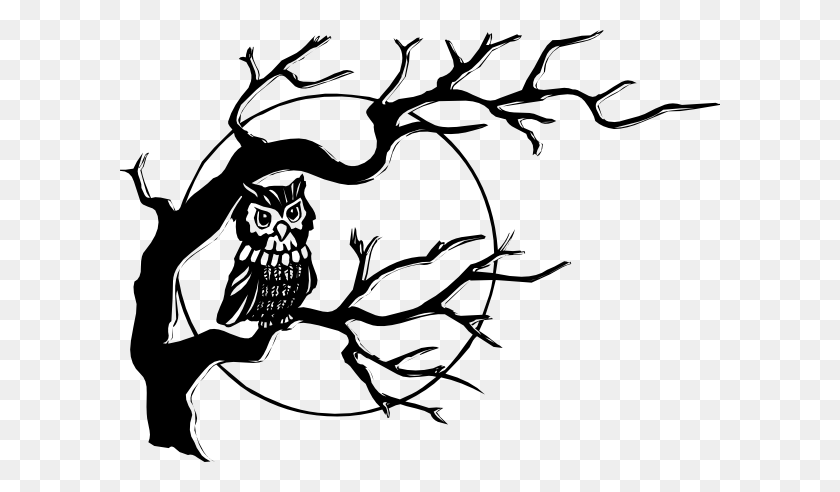 Owl On Tree Branch Clip Art Free Vector - Ostrich Clipart Black And White