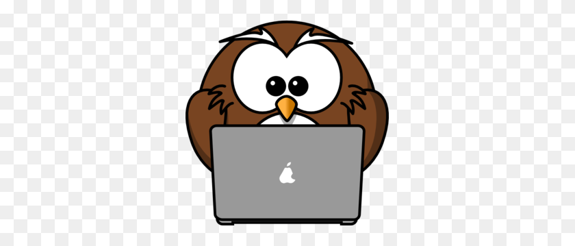 Owl Using A Laptop Clip Art - Computer Repair Clipart