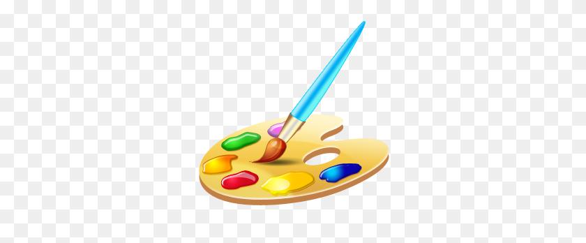 288x288 Paint Palette And Brush - Artist Palette Clip Art Free