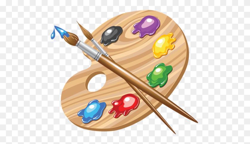 500x426 Paint Pallete And Brushes Clip Art Dibujos Art - Art Pallet Clipart