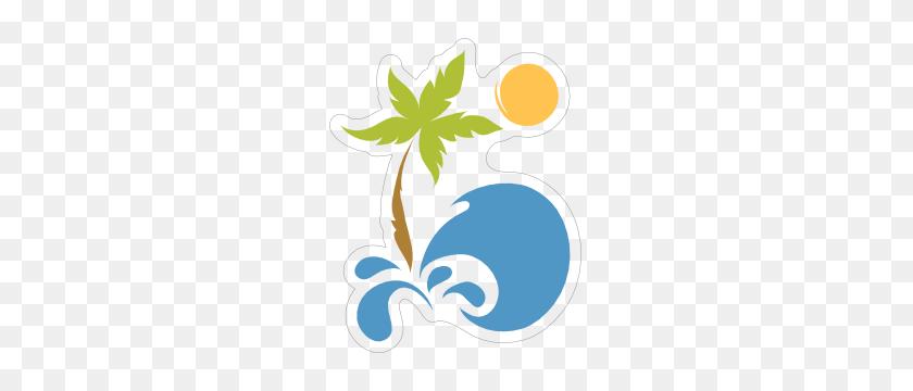 Palm Tree Beach Sticker - Palm Tree Beach Clip Art