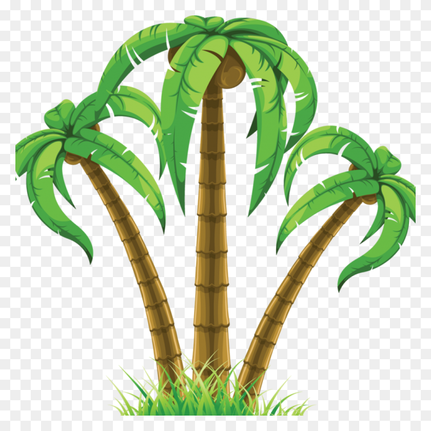 Palm Tree Clip Art Free Group Of Three Palm Trees - Coconut Tree Clipart