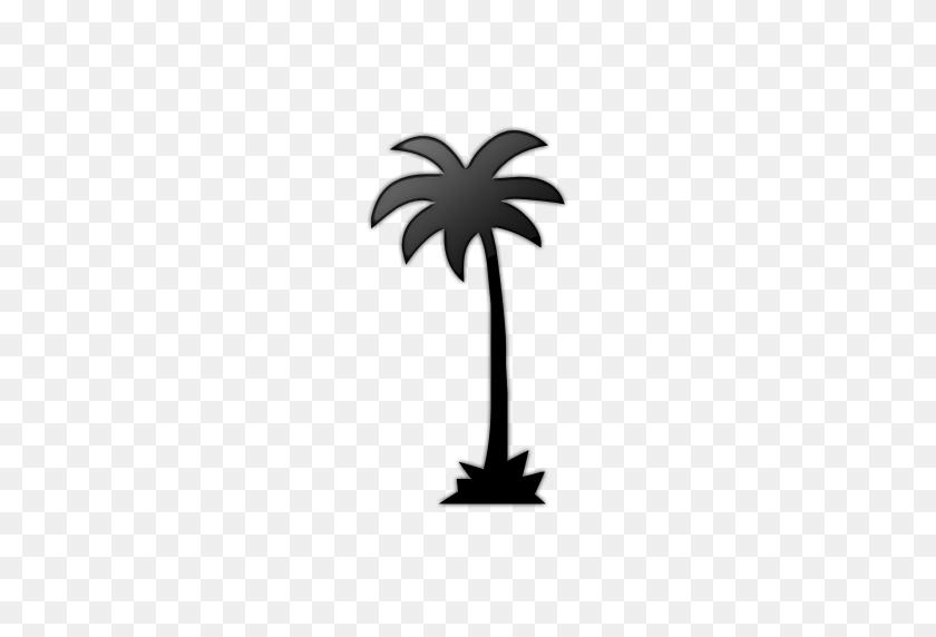 Palm Tree Clipart Icon - Black Tree Clipart