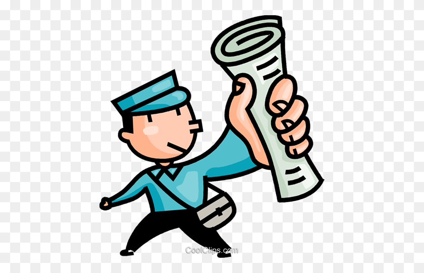 446x480 Paper Boy Delivering The Newspapers Royalty Free Vector Clip Art - Newspaper Boy Clipart