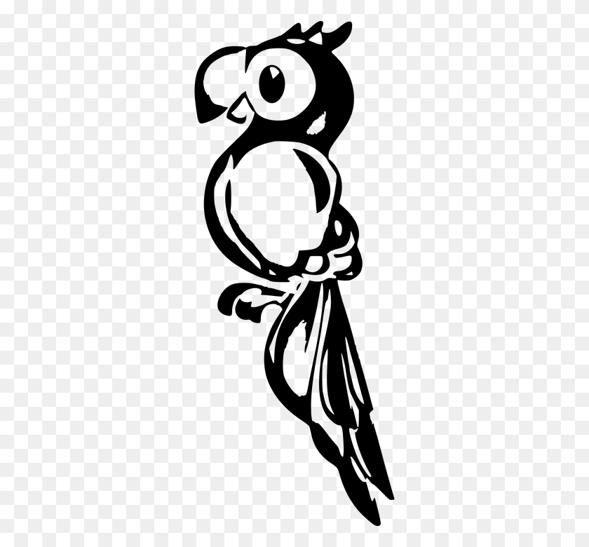 360x720 Parrot Clipart Parrot Outline - Parrot Clipart Black And White