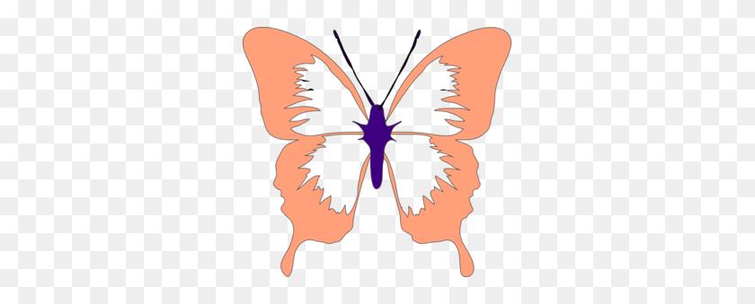 Peach Butterfly Clip Art - Peach Clipart