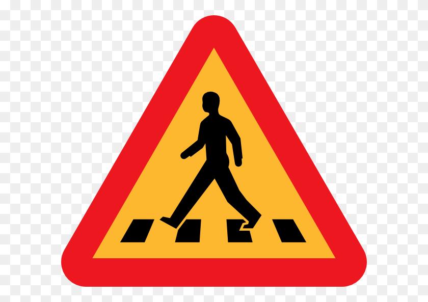 600x533 Pedestrian Crossing Sign Clip Art Free Vector - Crossing Guard Clipart
