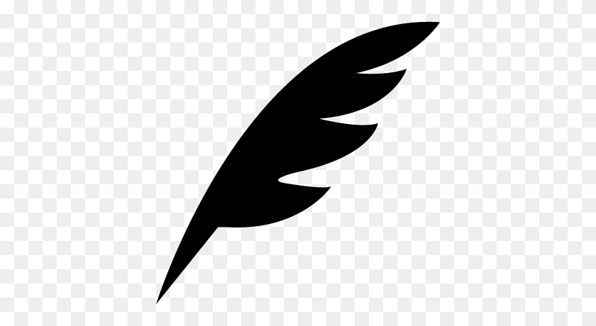 Pen Feather Black Diagonal Shape Of A Bird Wing Free Vectors - Feather Clip Art Black And White
