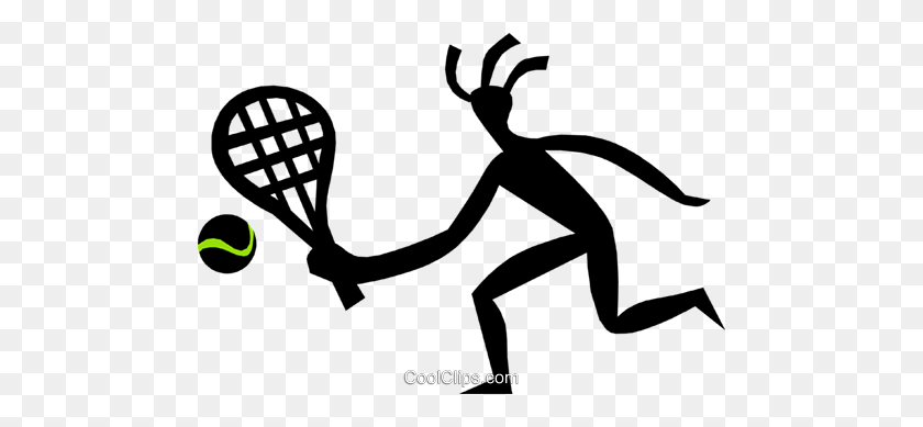 Person Playing Tennis Royalty Free Vector Clip Art Illustration - Racquetball Clipart