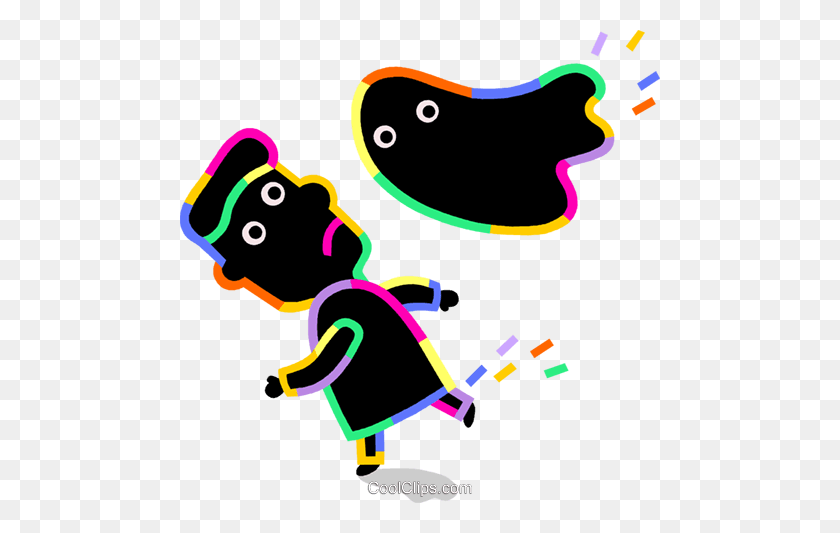 Person Running Away From Ghost Royalty Free Vector Clip Art - Running Away Clipart