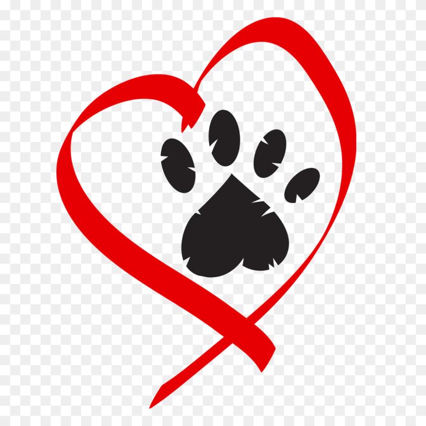 Pet Clipart Heart - Puppy Paw Print Clip Art