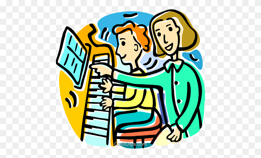Piano Lessons Royalty Free Vector Clip Art Illustration - Piano Clipart