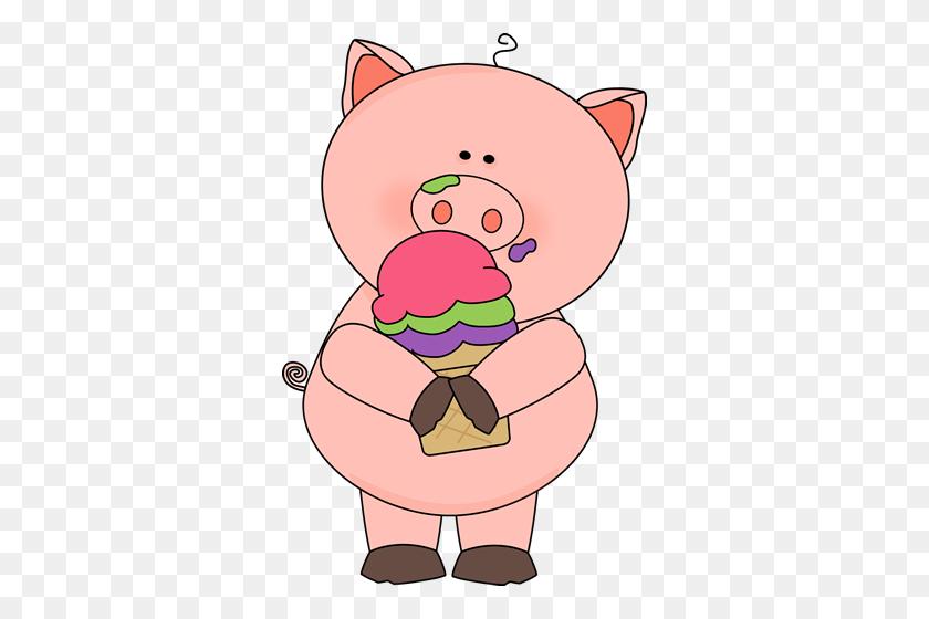 Pig Eating Ice Cream Pig Art Pig Eating Ice Cream - Pig Pen Clipart