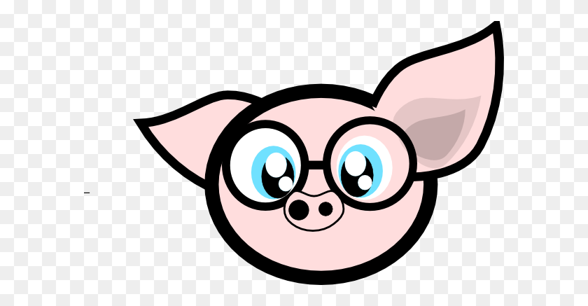 Pig With Glasses Clip Art - Pig Image Clipart