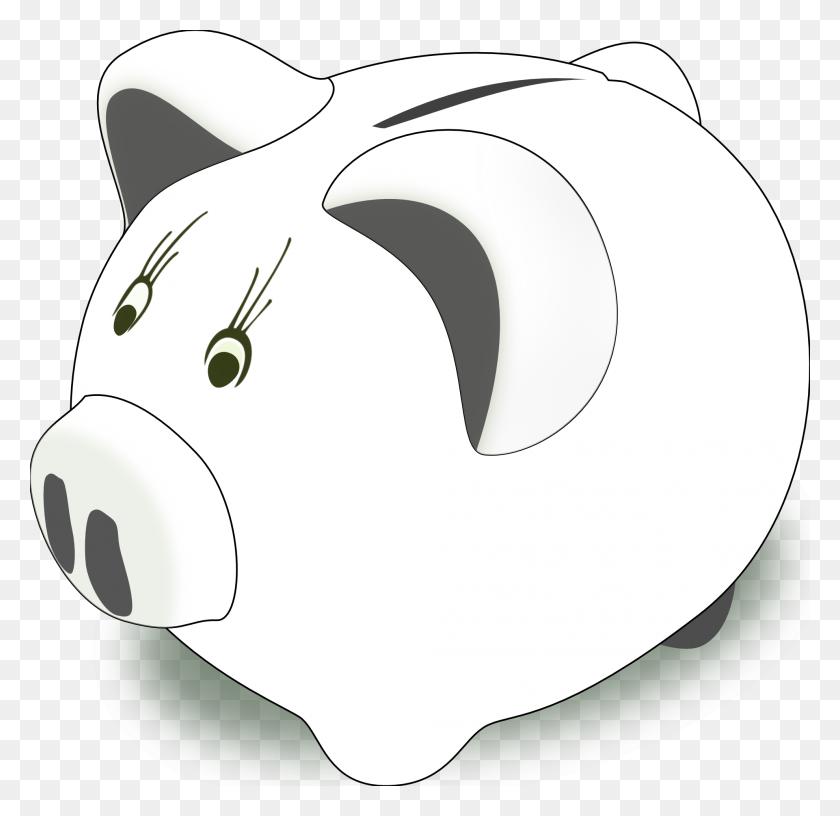 Piggy Bank Clip Art Black And White - Piggy Bank Clipart