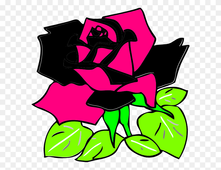 600x589 Pink And Black Rose Clip Art - Pink Rose Clipart