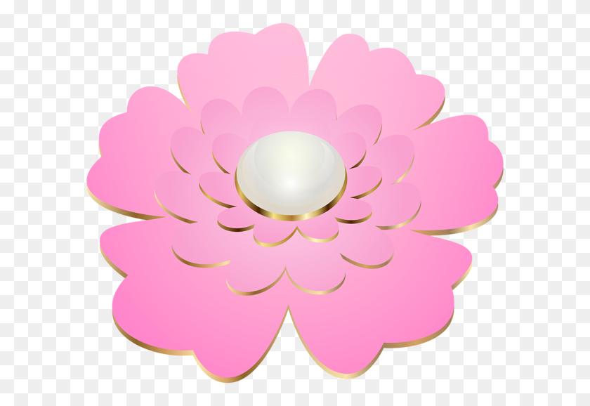 600x518 Pink Decorative Flower Transparent Clip Gallery - Pink Flower Clipart
