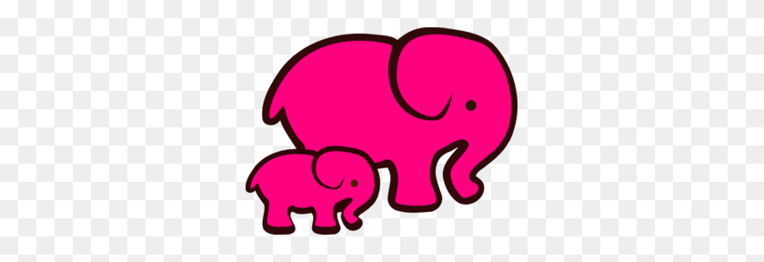 Pink Elephant Mom Baby Clip Art - Pink Baby Clipart