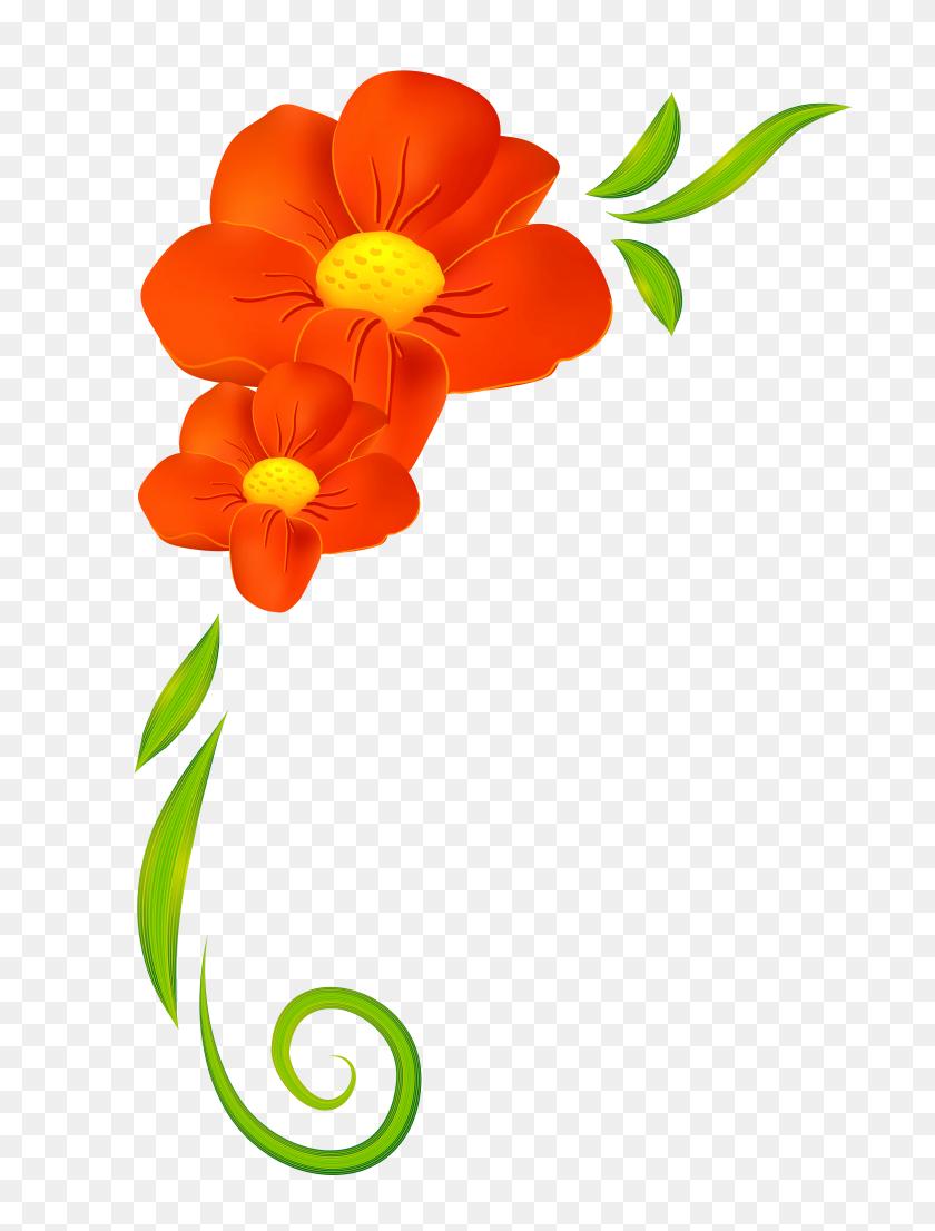 Pink Floral Header Clip Art - Flower Header Clipart