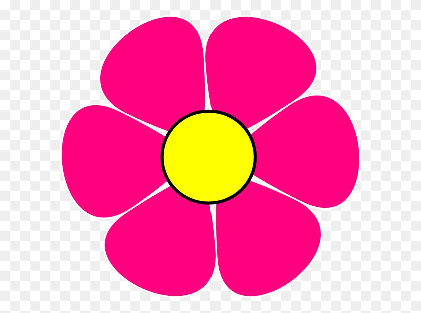 600x564 Pink Flower Power Clip Art - Pink Flowers PNG