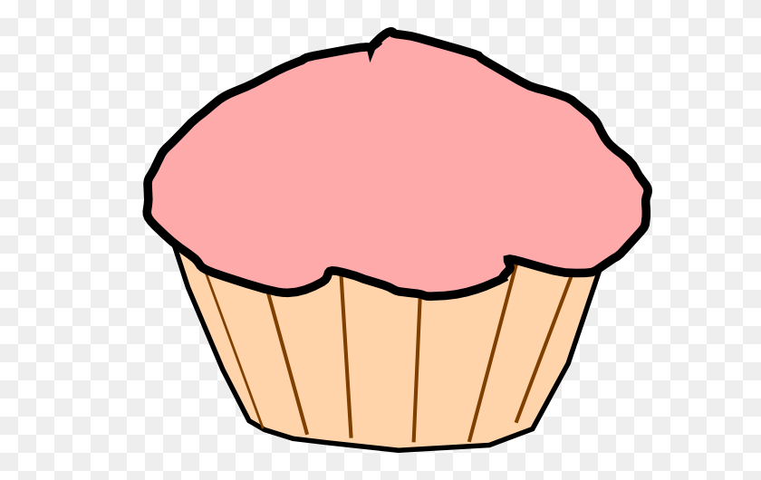 Pink Frosted Cupcake Clip Art - Pink Cupcake Clipart