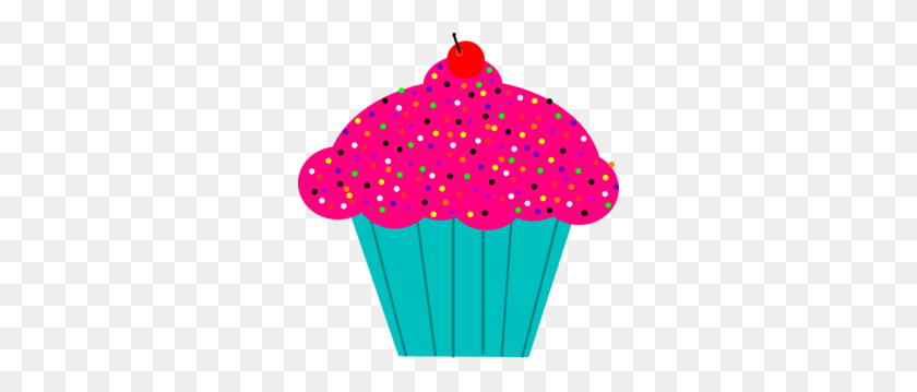 Pink Frosted Cupcake Clip Art - Cupcake Clipart