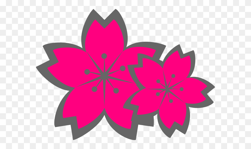 Pink Sakura Flowers Clip Art - Sakura Clipart