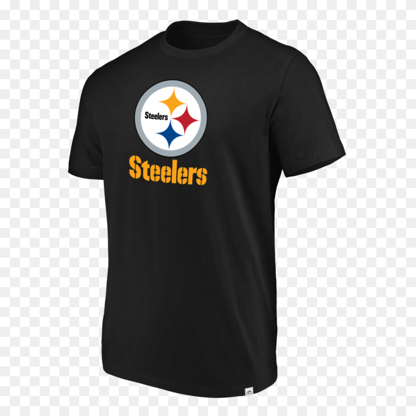 Pittsburgh Steelers Majestic Men's Black Flex Logo T Shirt - Pittsburgh Steelers Logo PNG