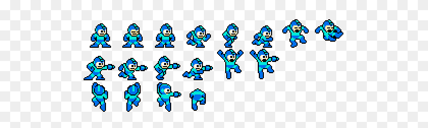 512x192 Pixel Art You Gained A Level! - Megaman Sprite PNG