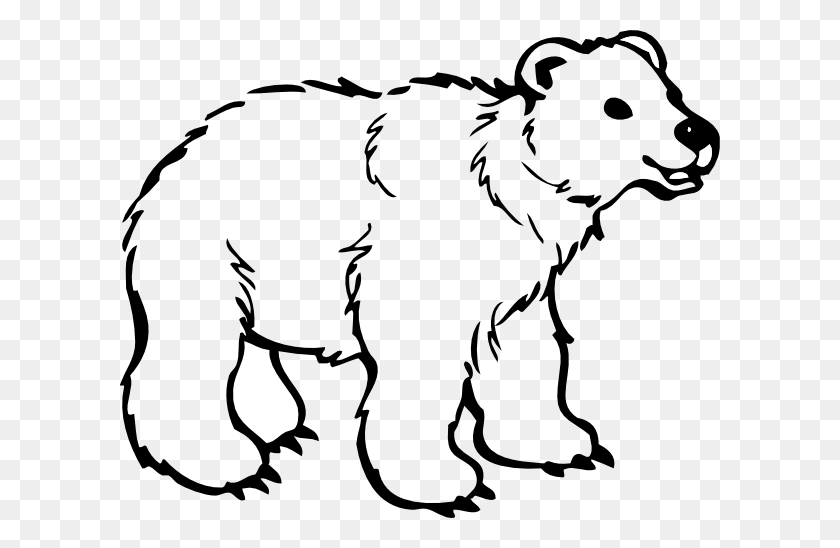 Polar Bear Clip Art Black And White Free Clipart - Woodland Bear Clipart
