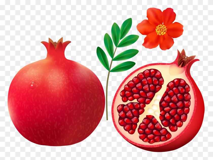 Pomegranate On White Background - Pomegranate Clipart