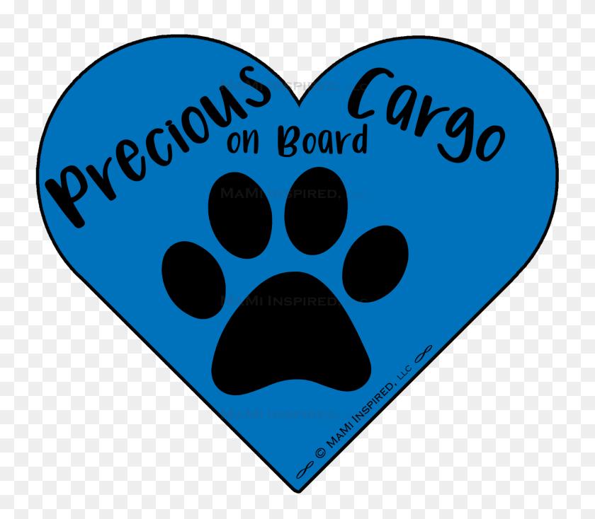 Precious Cargo On Board Dog On Board Paw Print Puppy Heart Car Magnet - Puppy Paw Print Clip Art