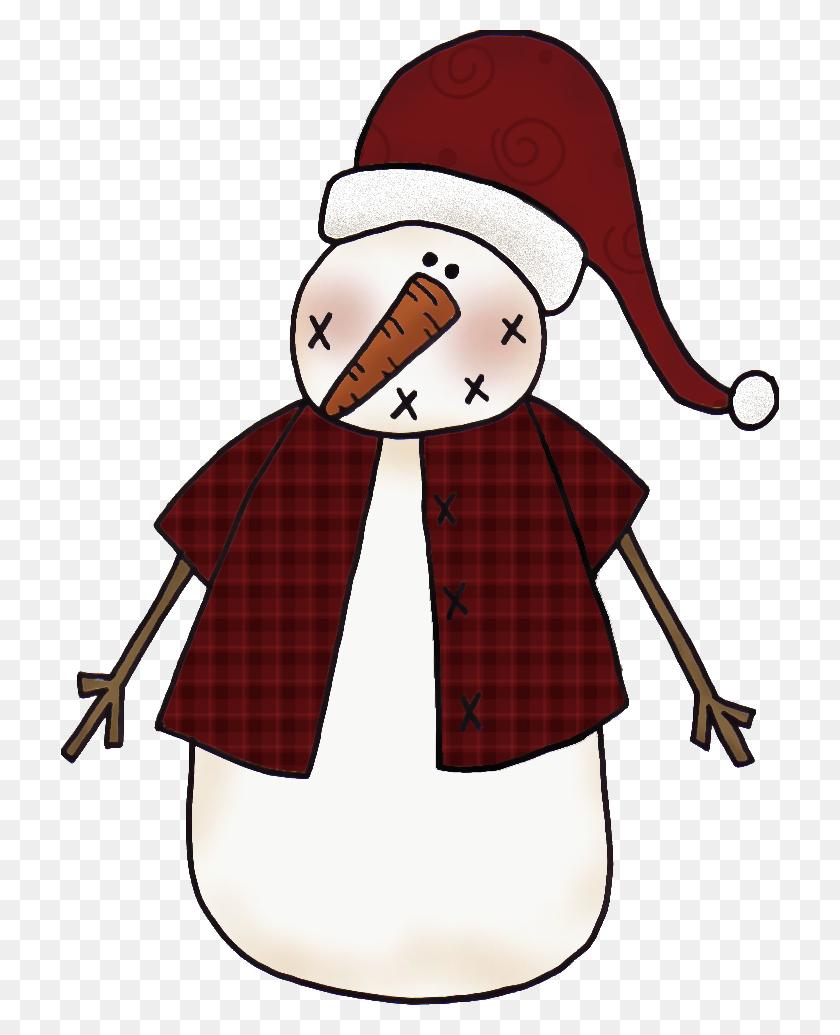 718x975 Primitive Clip Art Primitive Christmas Snowman Clip Art Clipart - Primitive Clip Art