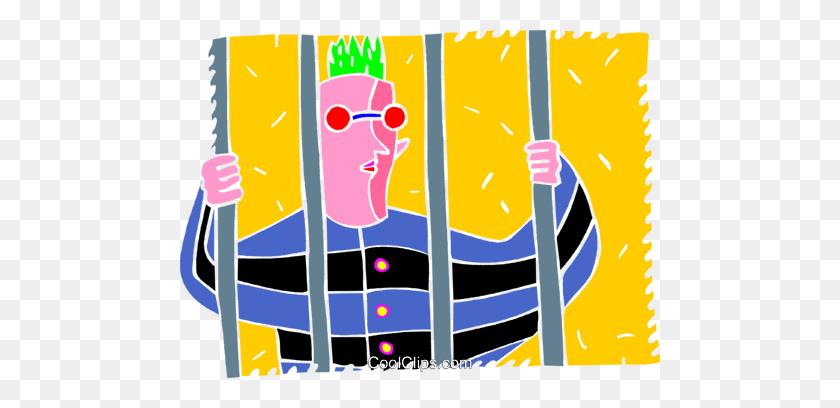 Prisoner Behind Bars Royalty Free Vector Clip Art Illustration - Prison Bars Clipart