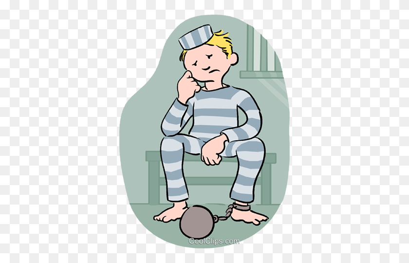 Prisoner Sitting In Prison Royalty Free Vector Clip Art - Prison Clipart
