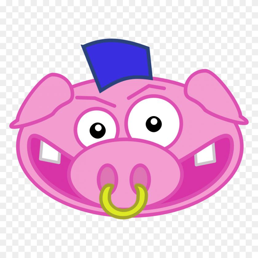 Punk Pig - Pig Head Clipart