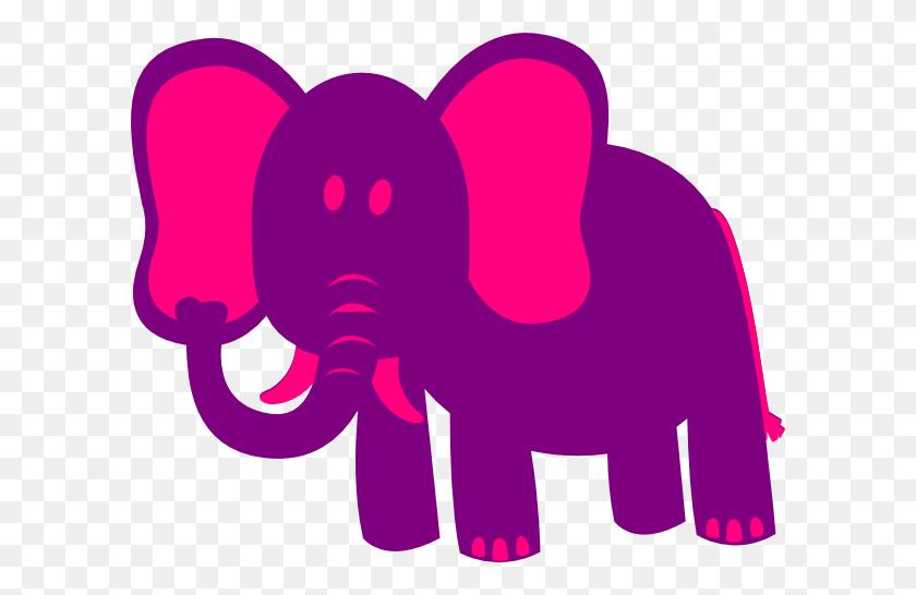 Purple Elephant Pink And Purple Elephant Clip Art - Elephant Trunk Clipart