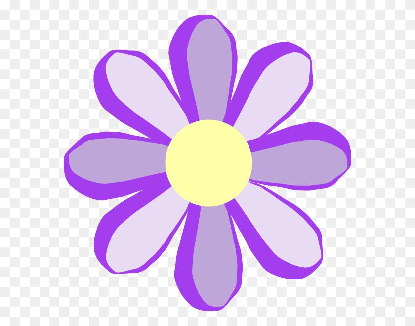 582x599 Purple Flowers Clipart - Rzr Clipart