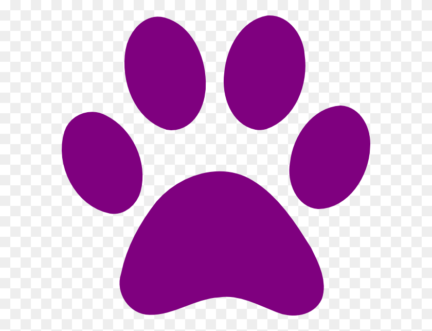 600x583 Purple Paw Print Clip Art - Paws PNG