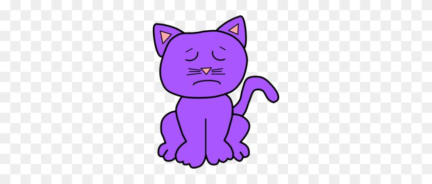 246x299 Purple Sad Clip Art - Sad Cat Clipart