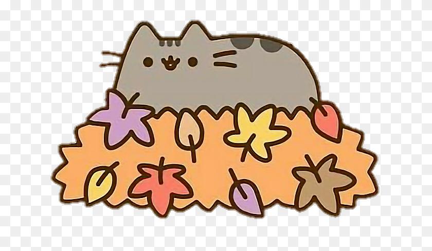 Pusheen Cat Kawaii Autumn Fall Leafs - Pusheen Clipart