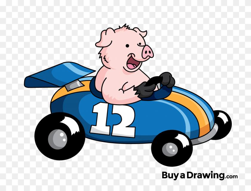 Race Car Cartoon Group With Items - Nascar Clipart