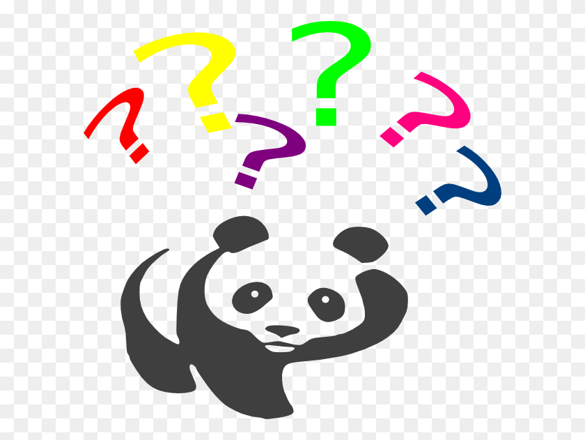 Rainbow Questioning Panda Clip Art - Pandas PNG