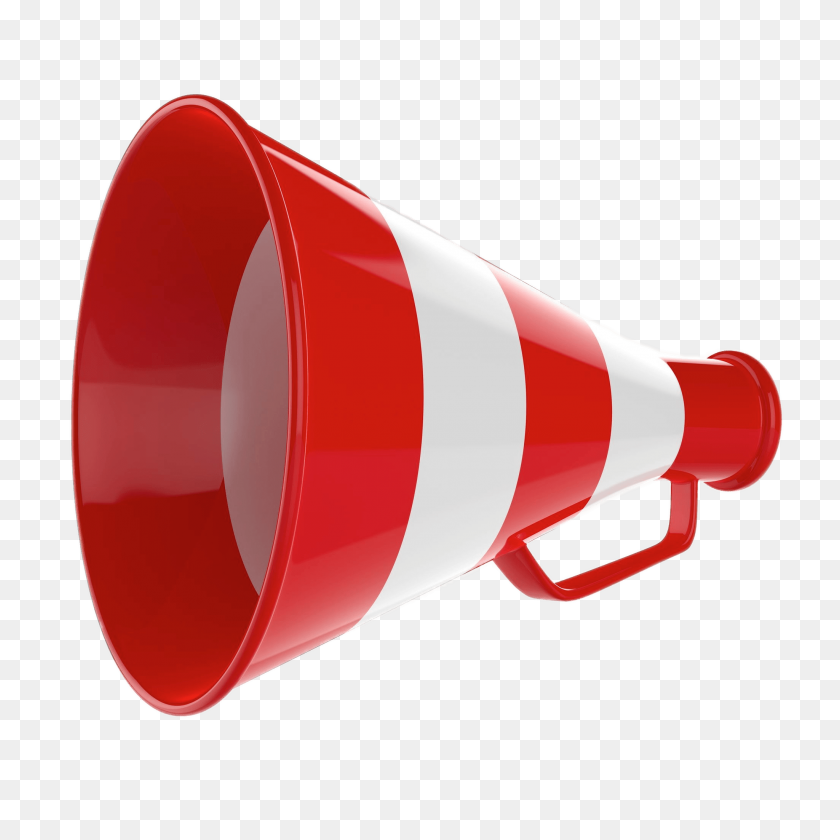2048x2048 Red And White Striped Megaphone Transparent Png - Megaphone PNG