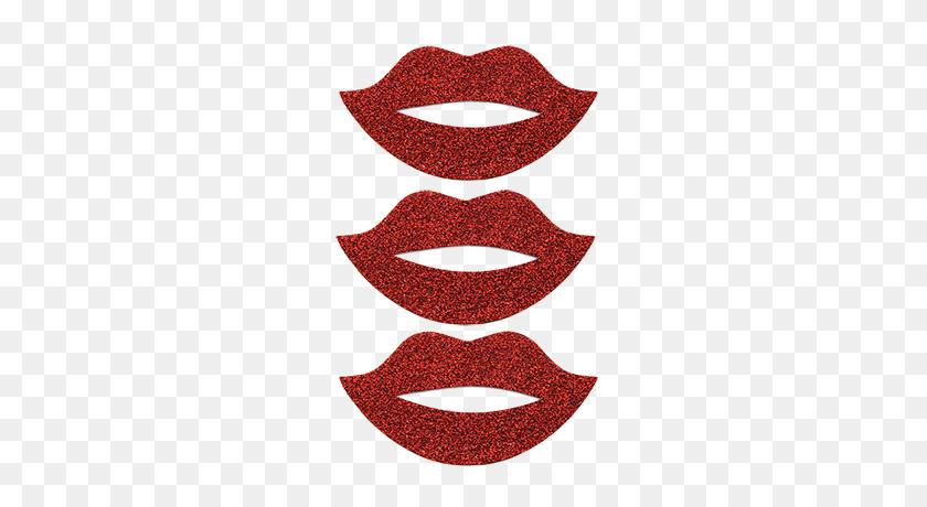 Red Glitter Lips Pack Sticker Bling Bling - Red Glitter PNG