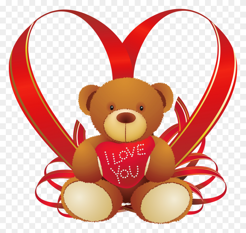 Red Heart With Teddy Bear Png - Teddy Bear Clipart PNG