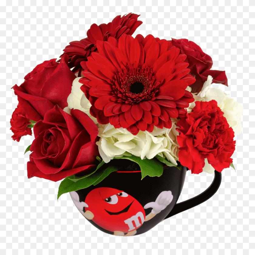 Red Mampm Character Cappuccino Flower Mug Designed - Mandm PNG