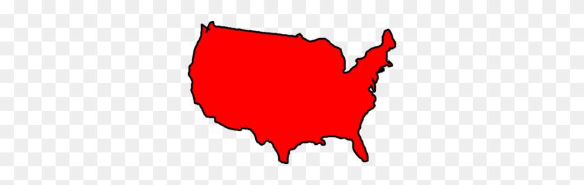 Red Map Usa Clip Art - Usa Clipart