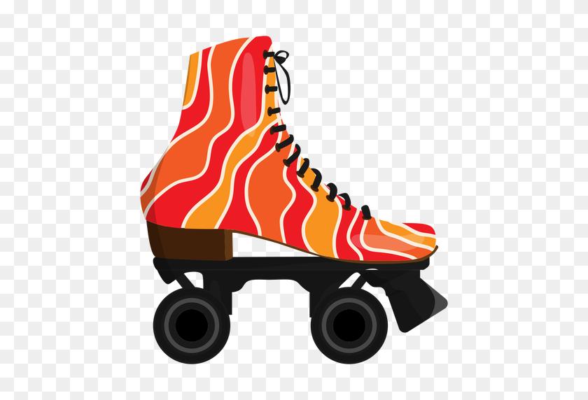 Red Wavy Roller Skate Shoe - Roller Skate PNG