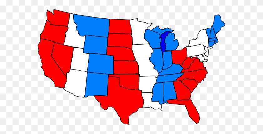 Red White Blue Usa Map Clip Art - Usa Clipart
